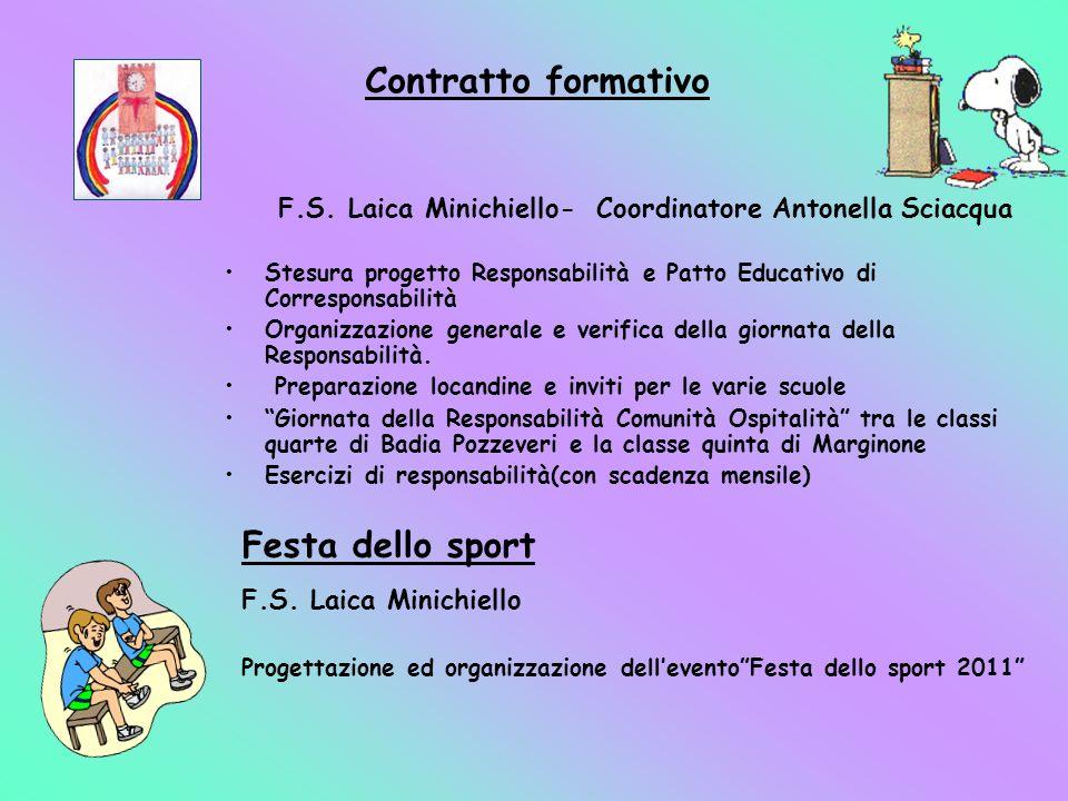 Contratto formativo F.S. Laica Minichiello- Coordinatore Antonella Sciacqua Stesura progetto Responsabilità e Patto Educativo di Corresponsabilità Org