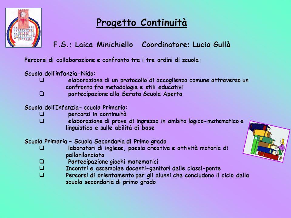 Progetto Continuità F.S.: Laica Minichiello Coordinatore: Lucia Gullà Percorsi di collaborazione e confronto tra i tre ordini di scuola: Scuola dellin