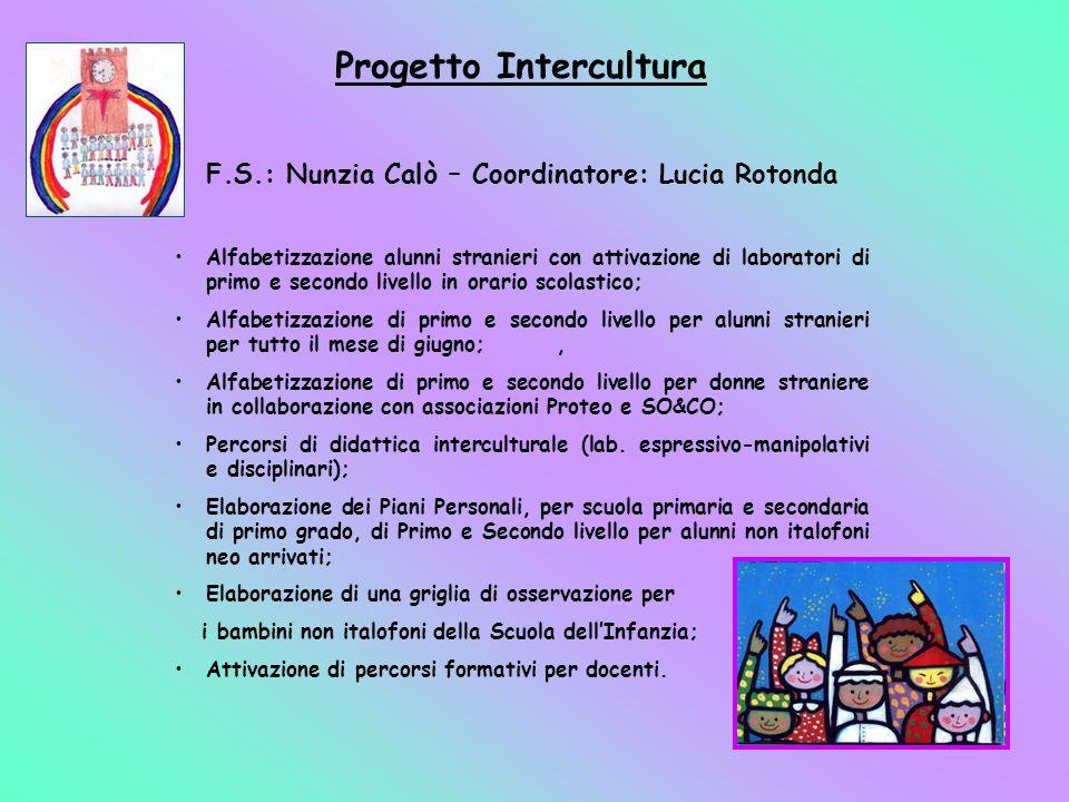 Progetto Intercultura F.S.: Nunzia Calò – Coordinatore: Lucia Rotonda Alfabetizzazione alunni stranieri con attivazione di laboratori di primo e secon