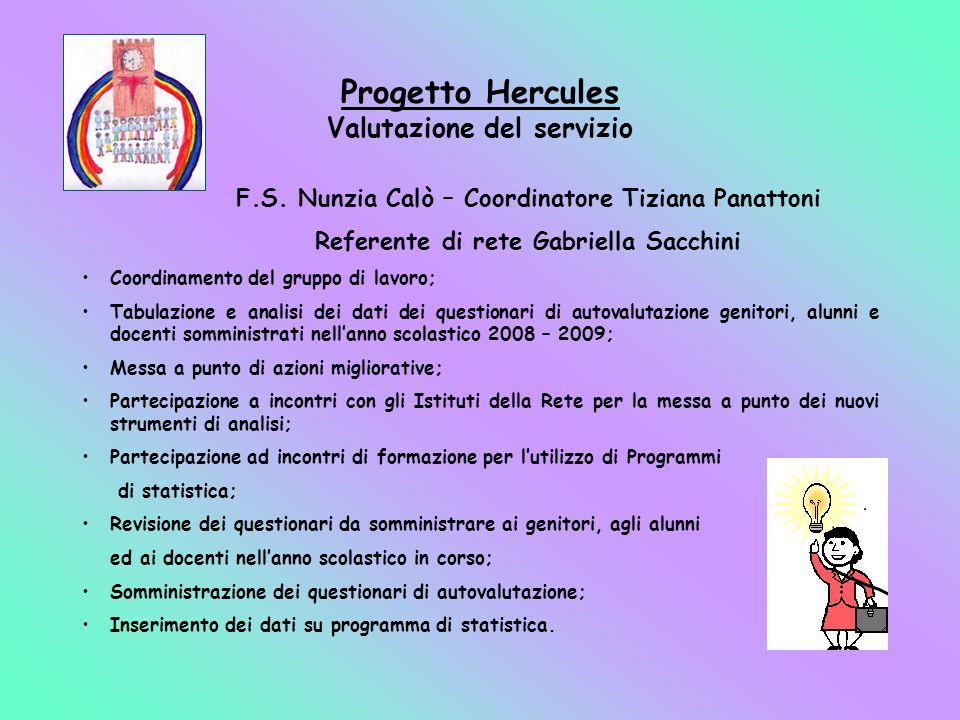 Progetto Hercules Valutazione del servizio F.S. Nunzia Calò – Coordinatore Tiziana Panattoni Referente di rete Gabriella Sacchini Coordinamento del gr