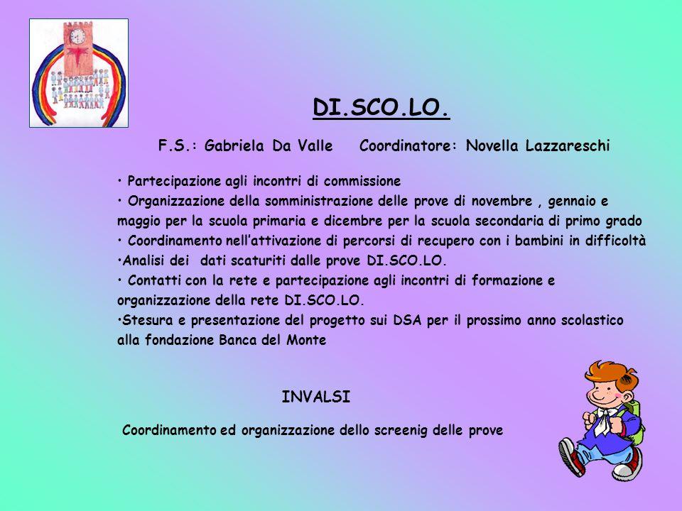 DI.SCO.LO. F.S.: Gabriela Da Valle Coordinatore: Novella Lazzareschi Partecipazione agli incontri di commissione Organizzazione della somministrazione