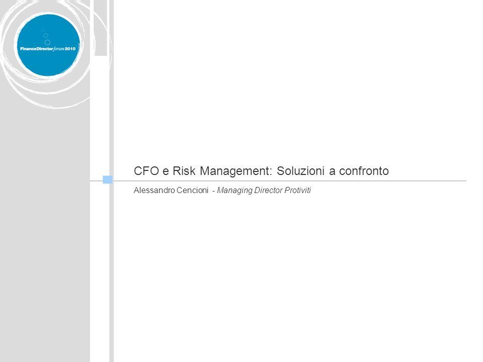 CFO e Risk Management: Soluzioni a confronto Alessandro Cencioni - Managing Director Protiviti
