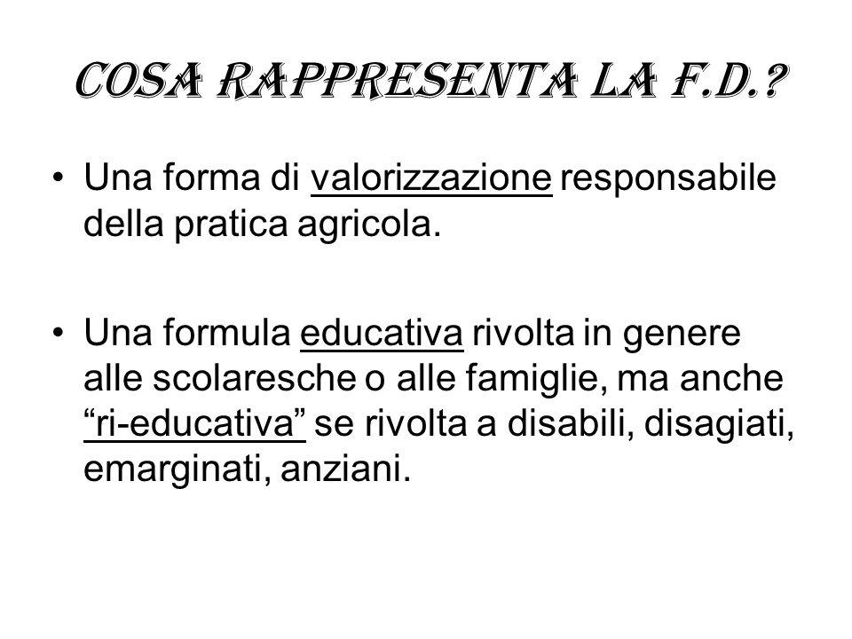 Cosa rappresenta la f.d.? Una forma di valorizzazione responsabile della pratica agricola. Una formula educativa rivolta in genere alle scolaresche o