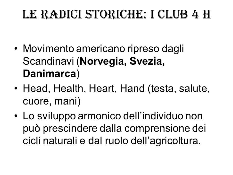 Le radici storiche: i Club 4 H Movimento americano ripreso dagli Scandinavi (Norvegia, Svezia, Danimarca) Head, Health, Heart, Hand (testa, salute, cu