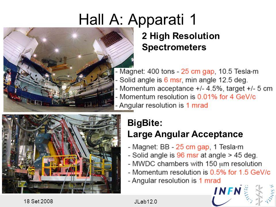 18 Set 2008 JLab12.0 Hall A: Apparati 2