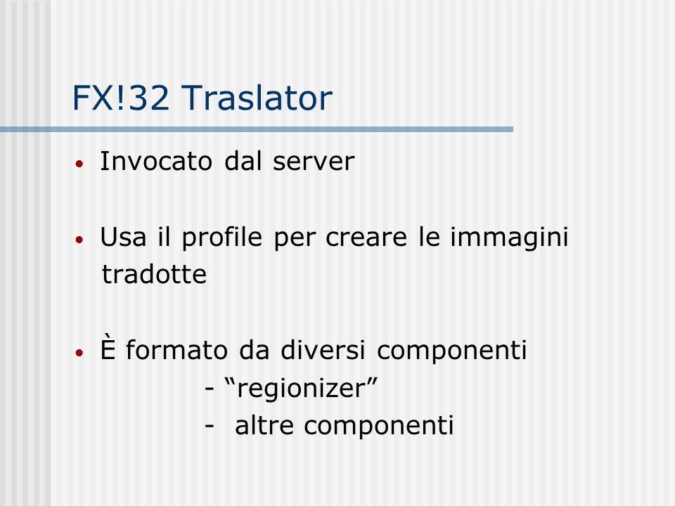 FX!32 Traslator Invocato dal server Usa il profile per creare le immagini tradotte È formato da diversi componenti - regionizer - altre componenti