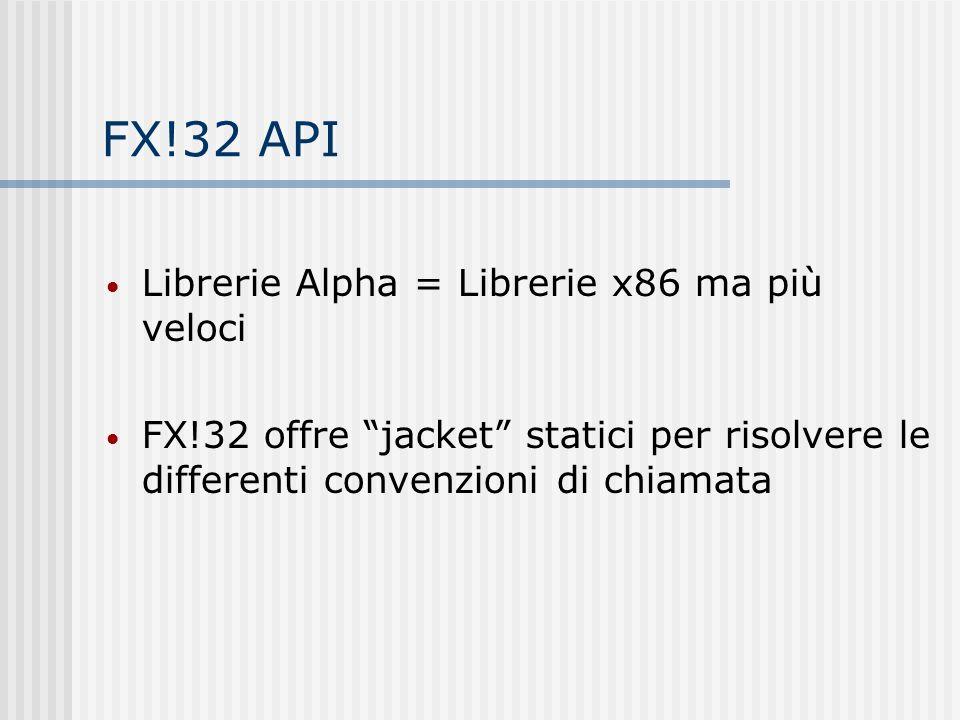 FX!32 API Librerie Alpha = Librerie x86 ma più veloci FX!32 offre jacket statici per risolvere le differenti convenzioni di chiamata