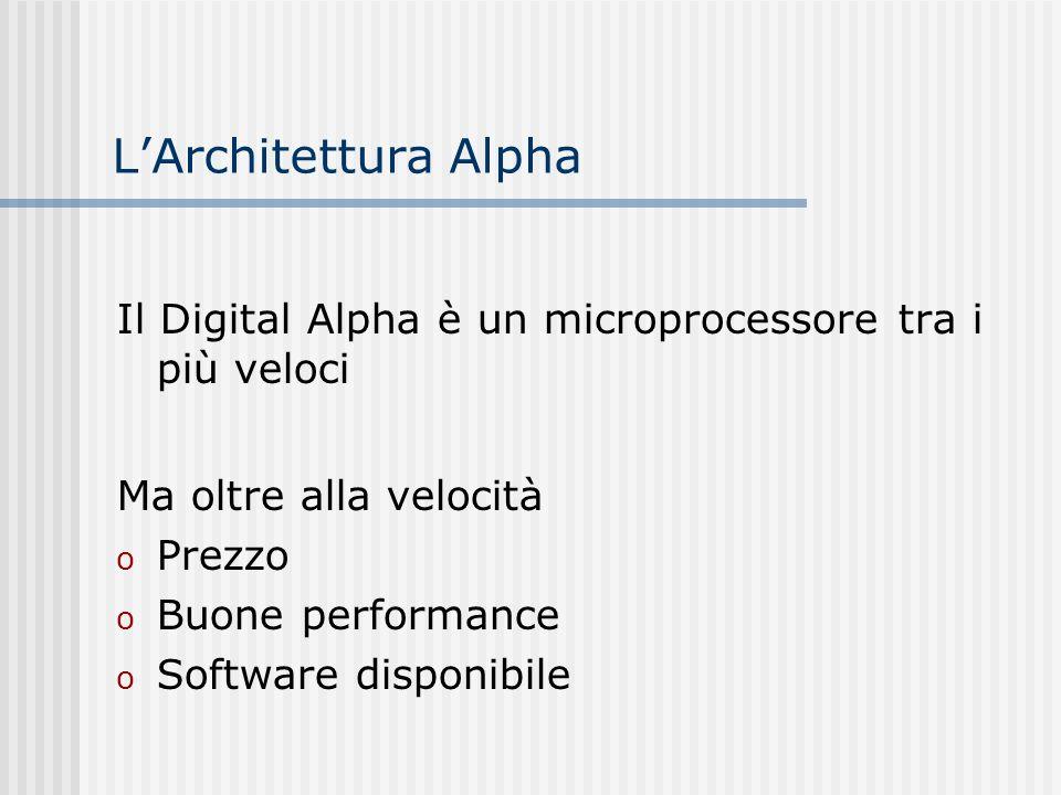 LArchitettura Alpha Il Digital Alpha è un microprocessore tra i più veloci Ma oltre alla velocità o Prezzo o Buone performance o Software disponibile