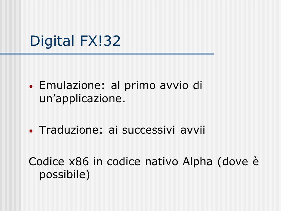 Digital FX!32 Emulazione: al primo avvio di unapplicazione. Traduzione: ai successivi avvii Codice x86 in codice nativo Alpha (dove è possibile)