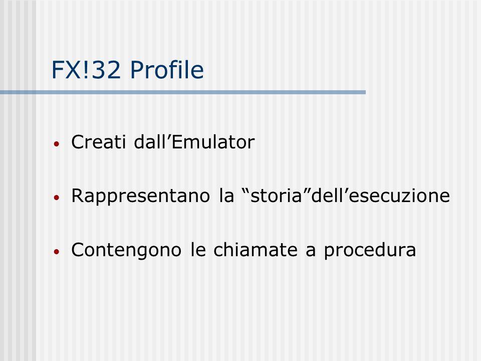 FX!32 Profile Creati dallEmulator Rappresentano la storiadellesecuzione Contengono le chiamate a procedura