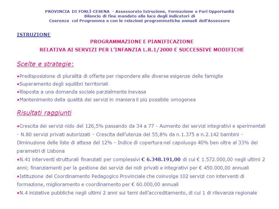 ISTRUZIONE PROGRAMMAZIONE E PIANIFICAZIONE RELATIVA AI SERVIZI PER LINFANZIA L.R.1/2000 E SUCCESSIVE MODIFICHE Scelte e strategie: Predisposizione di