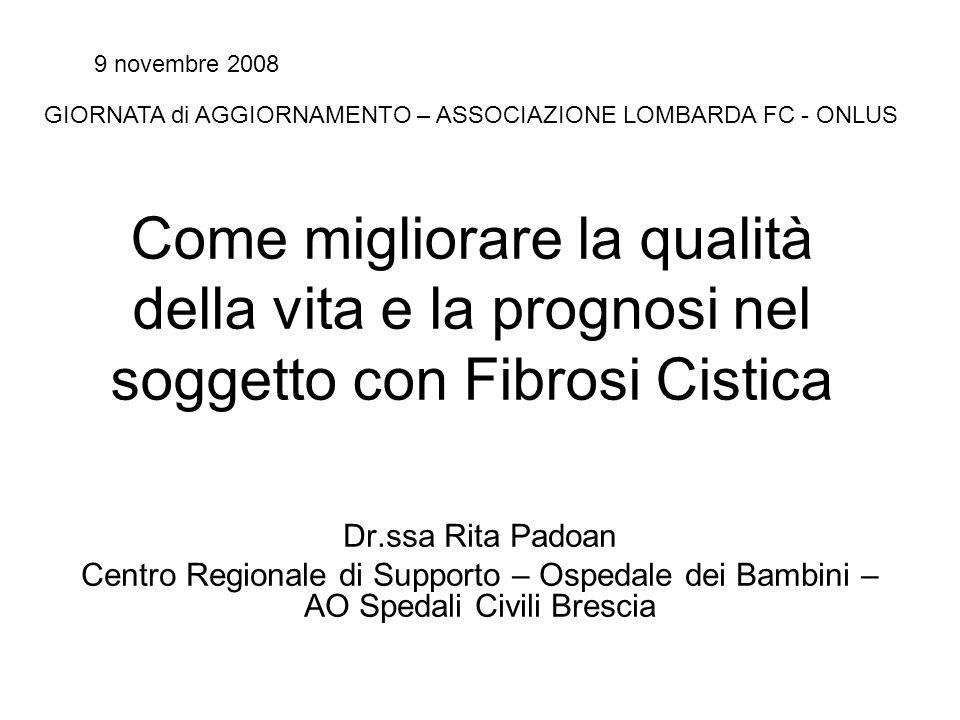 Come migliorare la qualità della vita e la prognosi nel soggetto con Fibrosi Cistica Dr.ssa Rita Padoan Centro Regionale di Supporto – Ospedale dei Ba