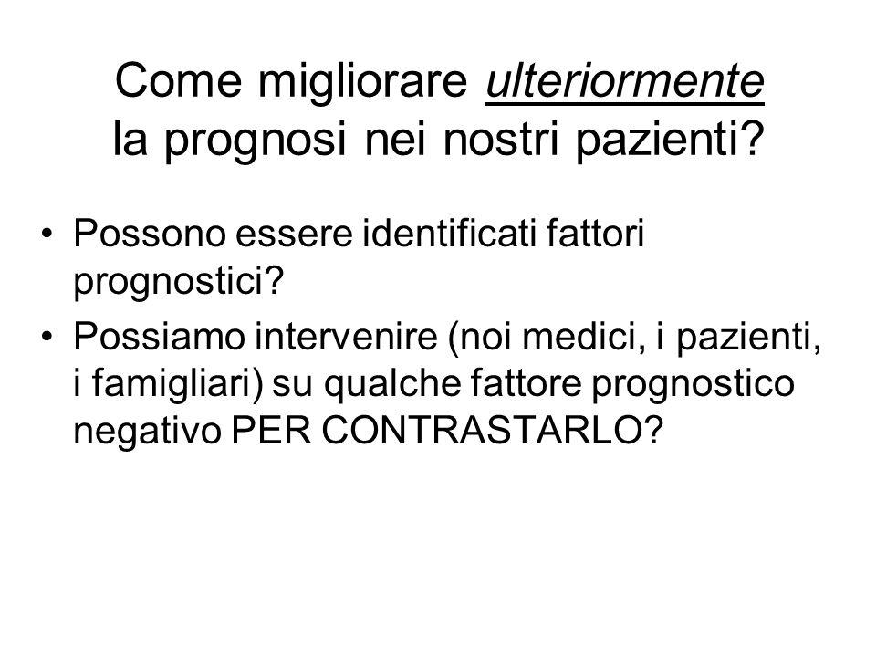 Come migliorare ulteriormente la prognosi nei nostri pazienti? Possono essere identificati fattori prognostici? Possiamo intervenire (noi medici, i pa