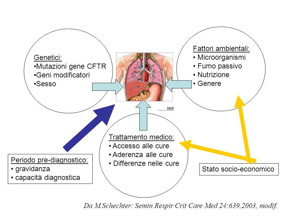 Genetici: Mutazioni gene CFTR Geni modificatori Sesso Periodo pre-diagnostico: gravidanza capacità diagnostica Fattori ambientali: Microorganismi Fumo