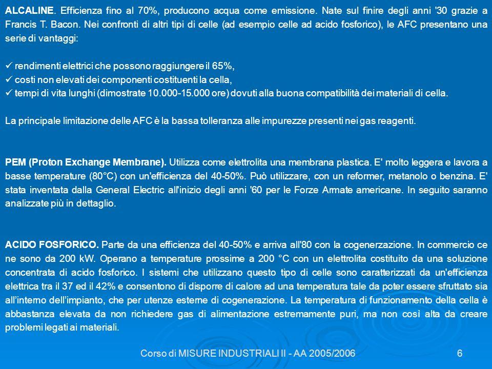 Corso di MISURE INDUSTRIALI II - AA 2005/20066 ALCALINE. Efficienza fino al 70%, producono acqua come emissione. Nate sul finire degli anni '30 grazie