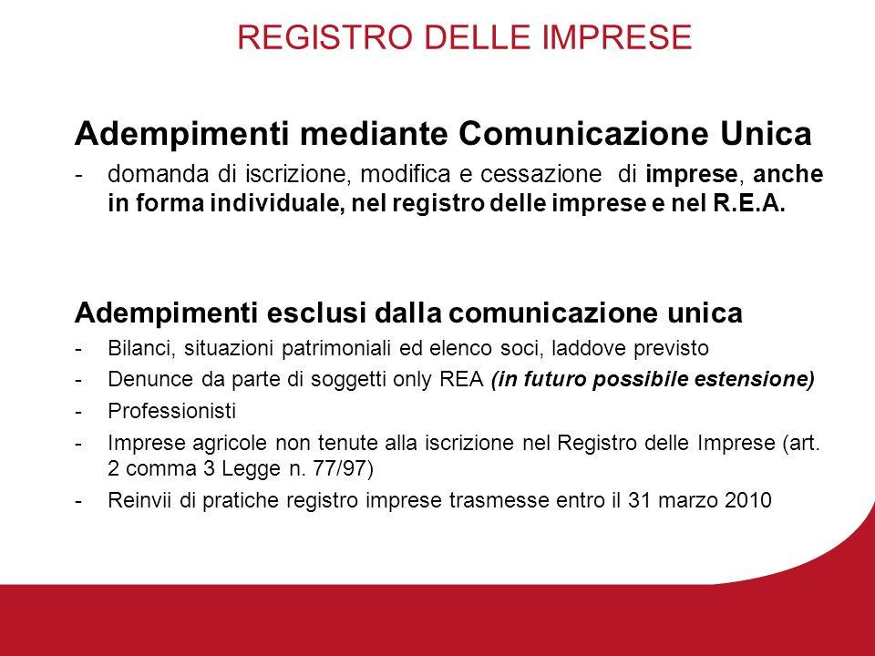 REGISTRO DELLE IMPRESE Adempimenti mediante Comunicazione Unica -domanda di iscrizione, modifica e cessazione di imprese, anche in forma individuale, nel registro delle imprese e nel R.E.A.