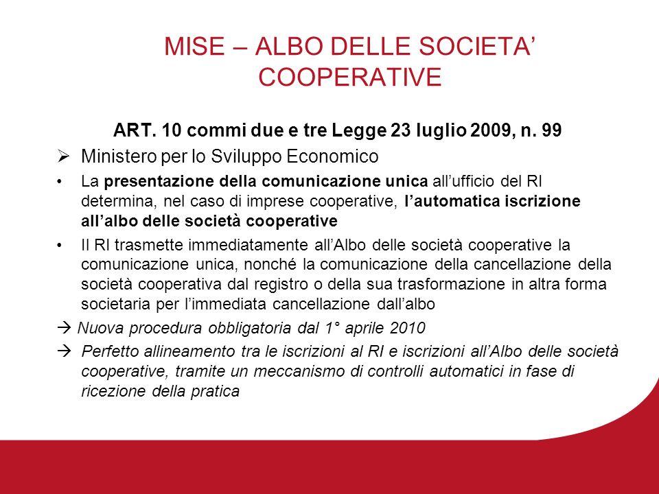 MISE – ALBO DELLE SOCIETA COOPERATIVE ART. 10 commi due e tre Legge 23 luglio 2009, n.