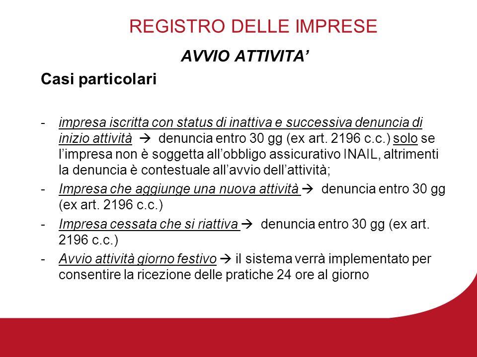 REGISTRO DELLE IMPRESE AVVIO ATTIVITA Casi particolari -impresa iscritta con status di inattiva e successiva denuncia di inizio attività denuncia entro 30 gg (ex art.