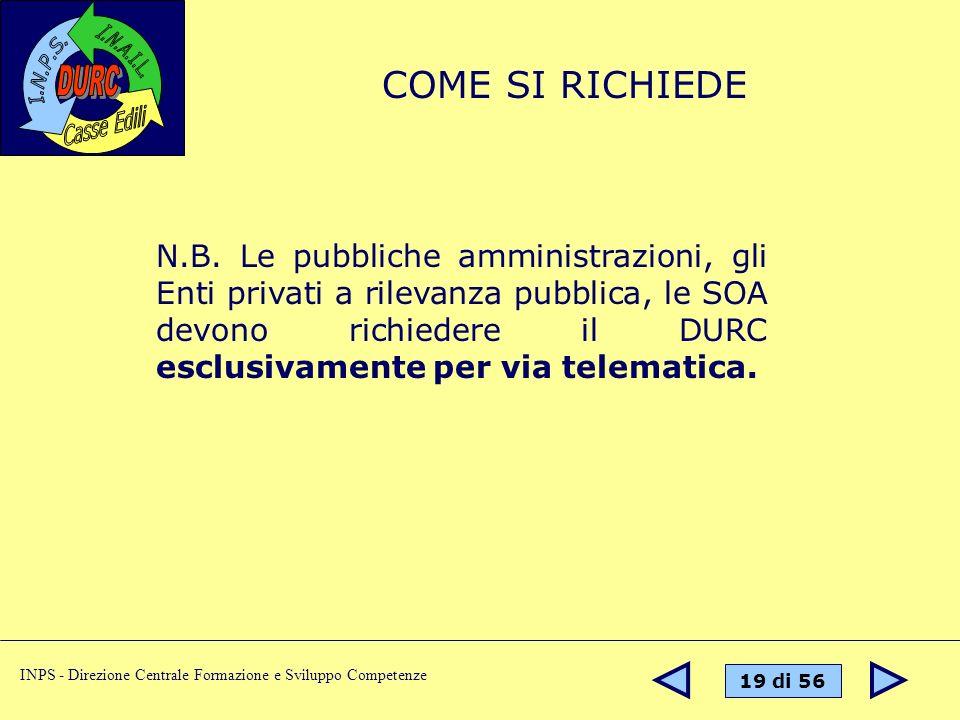 19 di 56 INPS - Direzione Centrale Formazione e Sviluppo Competenze N.B. Le pubbliche amministrazioni, gli Enti privati a rilevanza pubblica, le SOA d