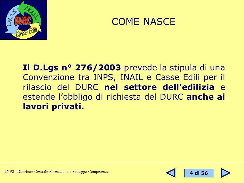 4 di 56 INPS - Direzione Centrale Formazione e Sviluppo Competenze Il D.Lgs n° 276/2003 prevede la stipula di una Convenzione tra INPS, INAIL e Casse