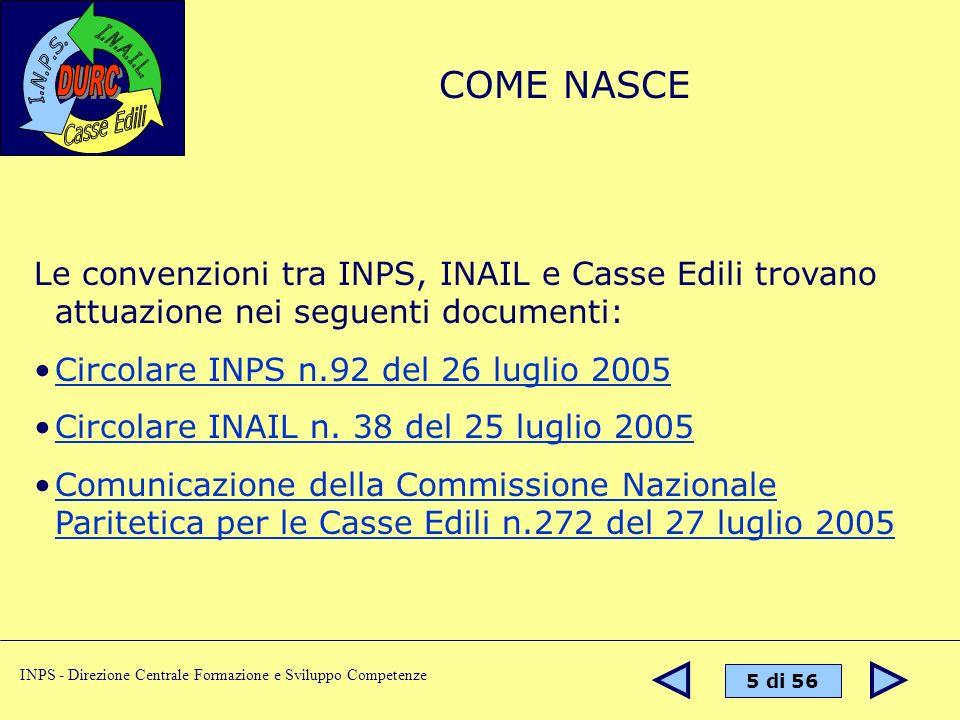 5 di 56 INPS - Direzione Centrale Formazione e Sviluppo Competenze Le convenzioni tra INPS, INAIL e Casse Edili trovano attuazione nei seguenti docume