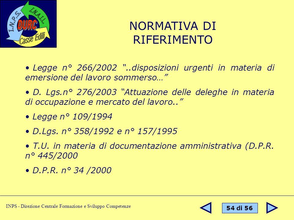 54 di 56 INPS - Direzione Centrale Formazione e Sviluppo Competenze NORMATIVA DI RIFERIMENTO Legge n° 266/2002..disposizioni urgenti in materia di emersione del lavoro sommerso… D.