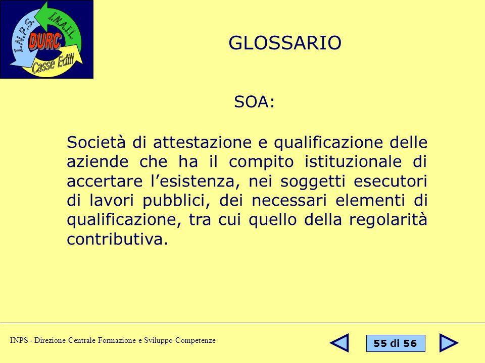 55 di 56 INPS - Direzione Centrale Formazione e Sviluppo Competenze SOA: Società di attestazione e qualificazione delle aziende che ha il compito isti