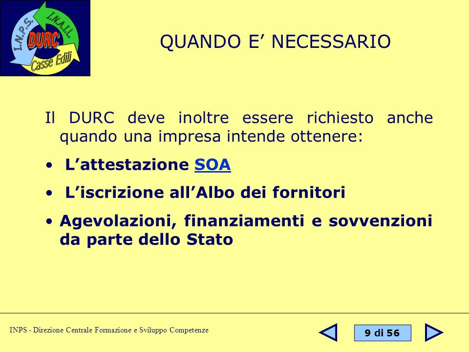 9 di 56 INPS - Direzione Centrale Formazione e Sviluppo Competenze Il DURC deve inoltre essere richiesto anche quando una impresa intende ottenere: Lattestazione SOASOA Liscrizione allAlbo dei fornitori Agevolazioni, finanziamenti e sovvenzioni da parte dello Stato QUANDO E NECESSARIO