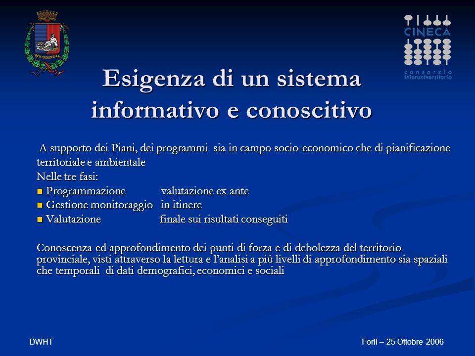 DWHTForlì – 25 Ottobre 2006 Esigenza di un sistema informativo e conoscitivo A supporto dei Piani, dei programmi sia in campo socio-economico che di p