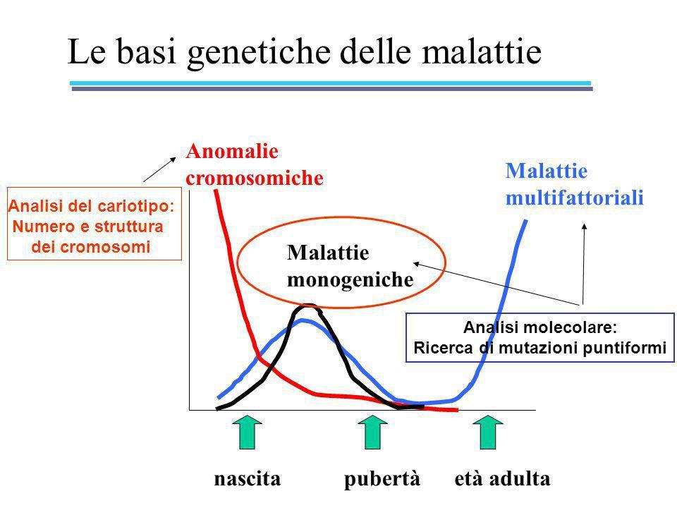 Le basi genetiche delle malattie nascitapubertàetà adulta Anomalie cromosomiche Malattie multifattoriali Malattie monogeniche Analisi del cariotipo: N