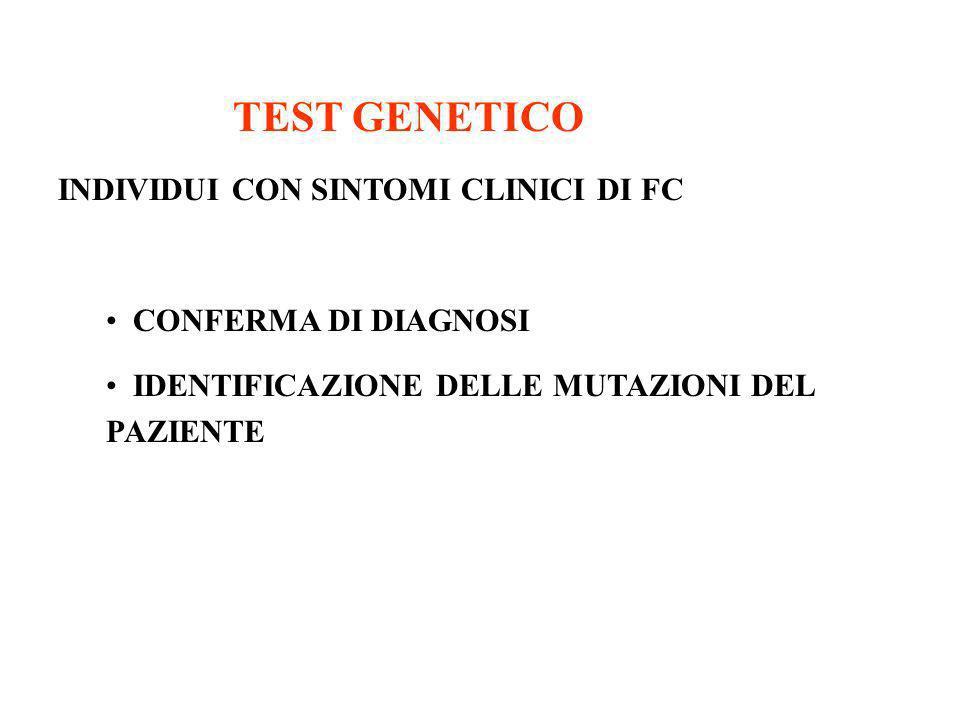 TEST GENETICO INDIVIDUI CON SINTOMI CLINICI DI FC CONFERMA DI DIAGNOSI IDENTIFICAZIONE DELLE MUTAZIONI DEL PAZIENTE