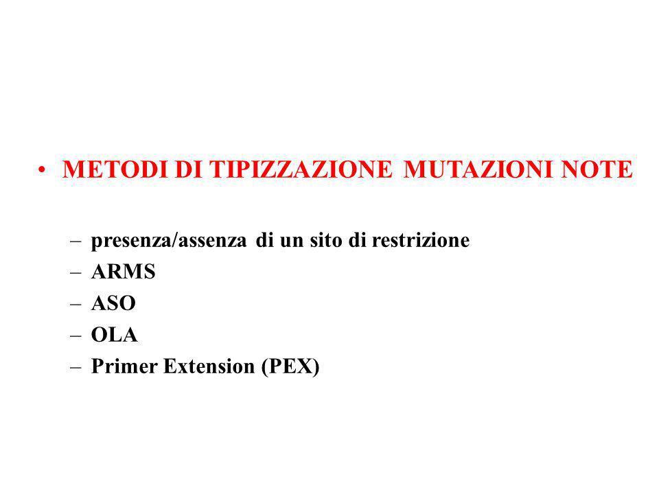 METODI DI TIPIZZAZIONE MUTAZIONI NOTE –presenza/assenza di un sito di restrizione –ARMS –ASO –OLA –Primer Extension (PEX)