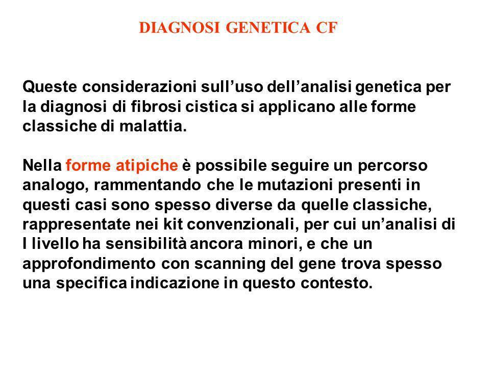 Queste considerazioni sulluso dellanalisi genetica per la diagnosi di fibrosi cistica si applicano alle forme classiche di malattia. Nella forme atipi