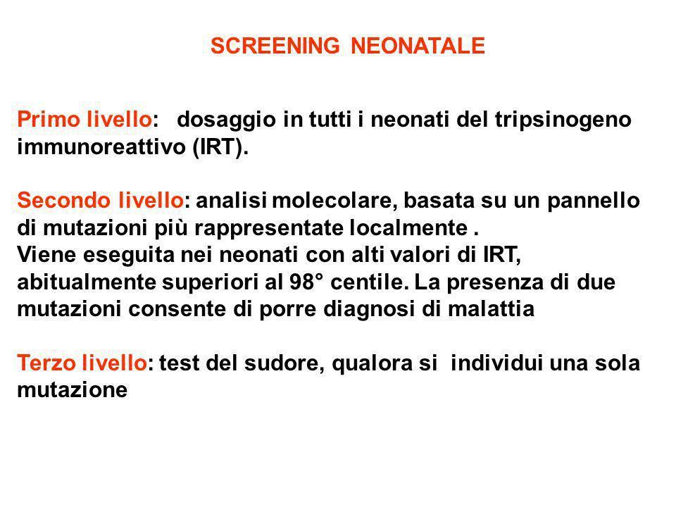 SCREENING NEONATALE Primo livello: dosaggio in tutti i neonati del tripsinogeno immunoreattivo (IRT). Secondo livello: analisi molecolare, basata su u