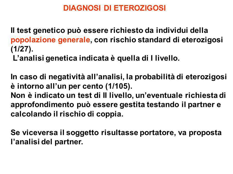 DIAGNOSI DI ETEROZIGOSI Il test genetico può essere richiesto da individui della popolazione generale, con rischio standard di eterozigosi (1/27). Lan