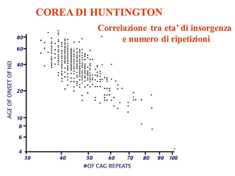 COREA DI HUNTINGTON Correlazione tra eta di insorgenza e numero di ripetizioni