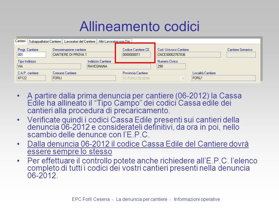 Allineamento codici A partire dalla prima denuncia per cantiere (06-2012) la Cassa Edile ha allineato il Tipo Campo dei codici Cassa edile dei cantier