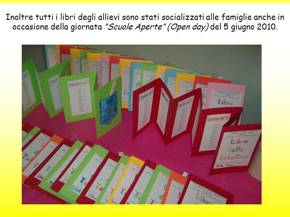 Inoltre tutti i libri degli allievi sono stati socializzati alle famiglie anche in occasione della giornata Scuole Aperte (Open day) del 5 giugno 2010