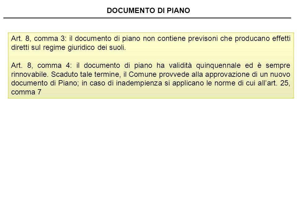 DOCUMENTO DI PIANO Art. 8, comma 3: il documento di piano non contiene previsoni che producano effetti diretti sul regime giuridico dei suoli. Art. 8,