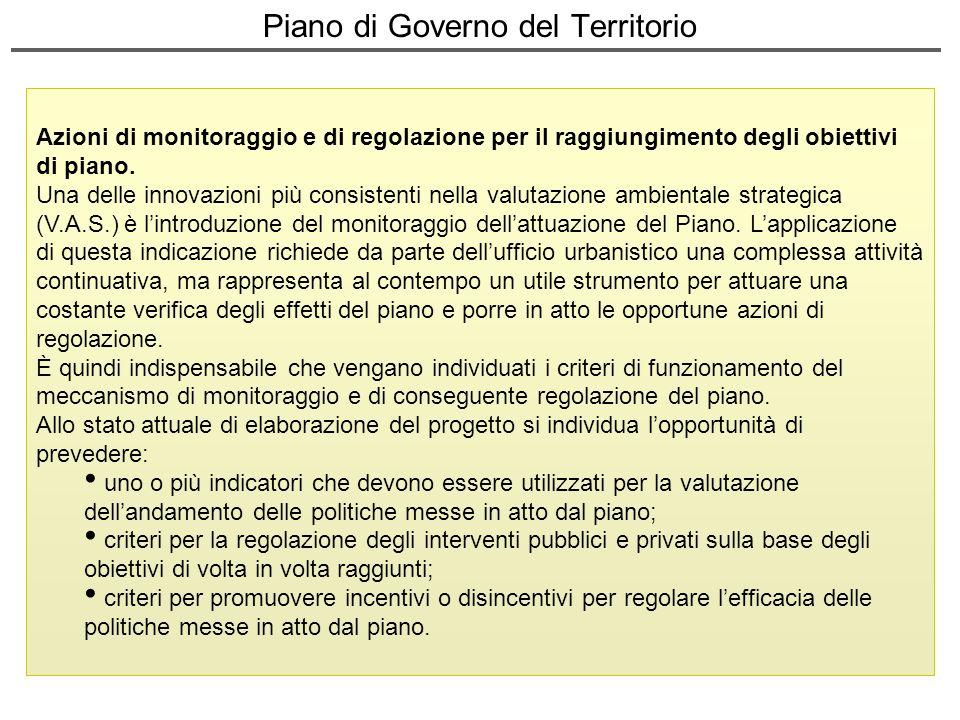 Piano di Governo del Territorio Azioni di monitoraggio e di regolazione per il raggiungimento degli obiettivi di piano. Una delle innovazioni più cons
