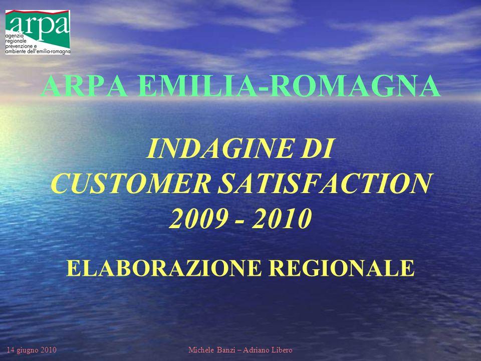 14 giugno 2010Michele Banzi – Adriano Libero ARPA EMILIA-ROMAGNA INDAGINE DI CUSTOMER SATISFACTION 2009 - 2010 ELABORAZIONE REGIONALE
