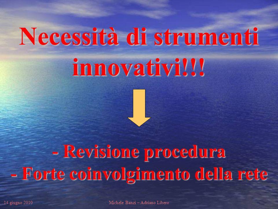 14 giugno 2010Michele Banzi – Adriano Libero - Revisione procedura - Forte coinvolgimento della rete Necessità di strumenti innovativi!!!