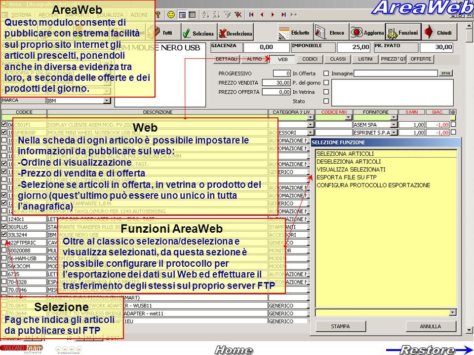 Web Nella scheda di ogni articolo è possibile impostare le informazioni da pubblicare sul web: -Ordine di visualizzazione -Prezzo di vendita e di offe