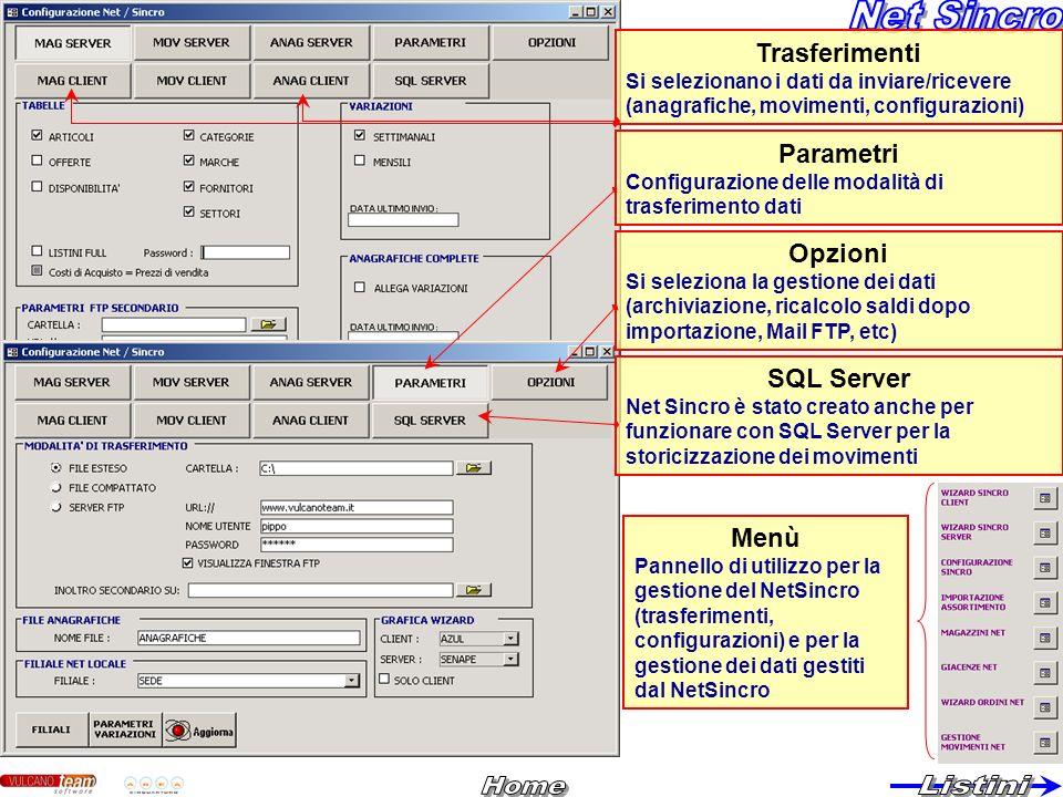 Trasferimenti Si selezionano i dati da inviare/ricevere (anagrafiche, movimenti, configurazioni) Opzioni Si seleziona la gestione dei dati (archiviazi