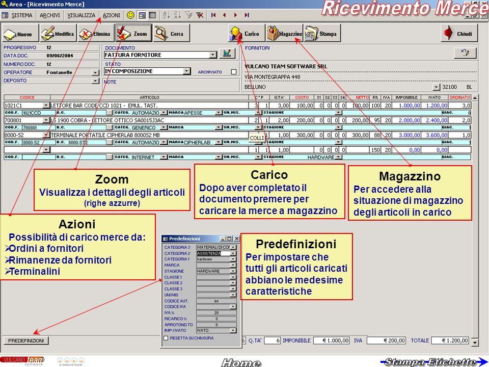 Azioni Possibilità di carico merce da: Ordini a fornitori Rimanenze da fornitori Terminalini Zoom Visualizza i dettagli degli articoli (righe azzurre)