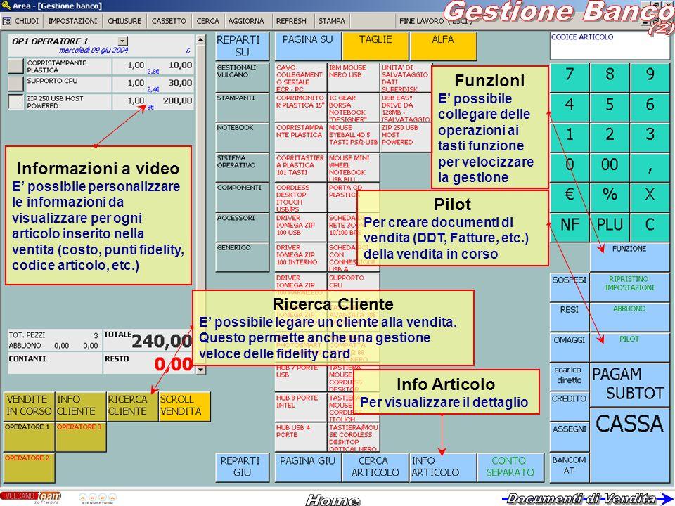 Funzioni E possibile collegare delle operazioni ai tasti funzione per velocizzare la gestione Info Articolo Per visualizzare il dettaglio Pilot Per cr