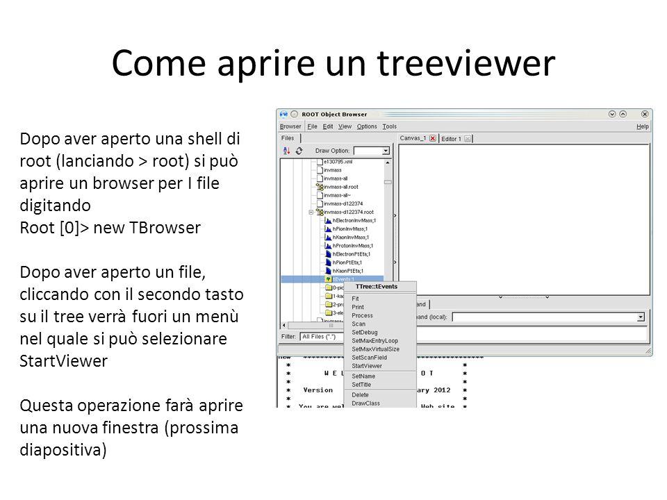 Come aprire un treeviewer Dopo aver aperto una shell di root (lanciando > root) si può aprire un browser per I file digitando Root [0]> new TBrowser Dopo aver aperto un file, cliccando con il secondo tasto su il tree verrà fuori un menù nel quale si può selezionare StartViewer Questa operazione farà aprire una nuova finestra (prossima diapositiva)