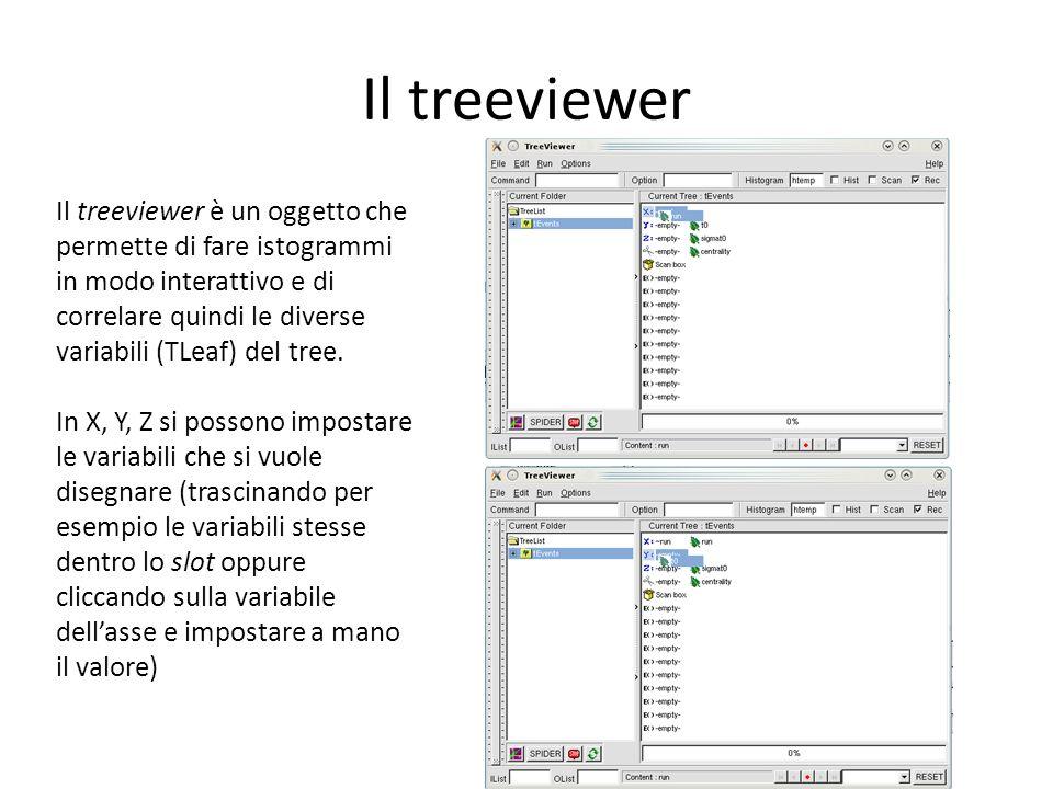 Il treeviewer Il treeviewer è un oggetto che permette di fare istogrammi in modo interattivo e di correlare quindi le diverse variabili (TLeaf) del tree.