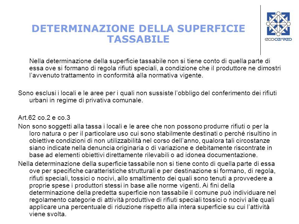 DETERMINAZIONE DELLA SUPERFICIE TASSABILE Nella determinazione della superficie tassabile non si tiene conto di quella parte di essa ove si formano di