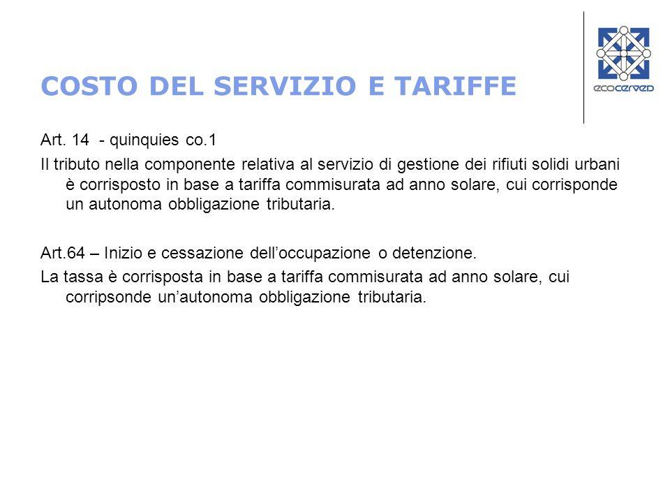 COSTO DEL SERVIZIO E TARIFFE Art. 14 - quinquies co.1 Il tributo nella componente relativa al servizio di gestione dei rifiuti solidi urbani è corrisp